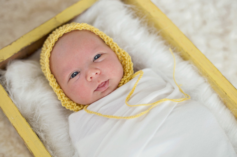 timeless sweet natural modern sleeping baby in box newborn