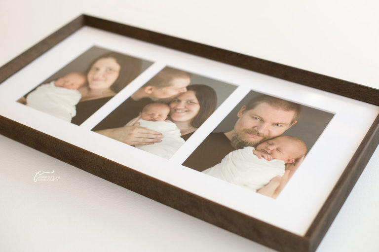 modern newborn photography wood-framed fine art prints