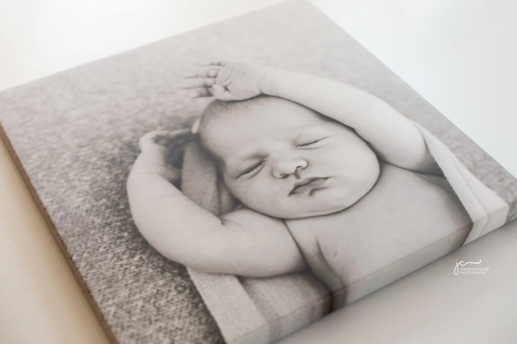 modern newborn photography black and white gallery wrap canvas