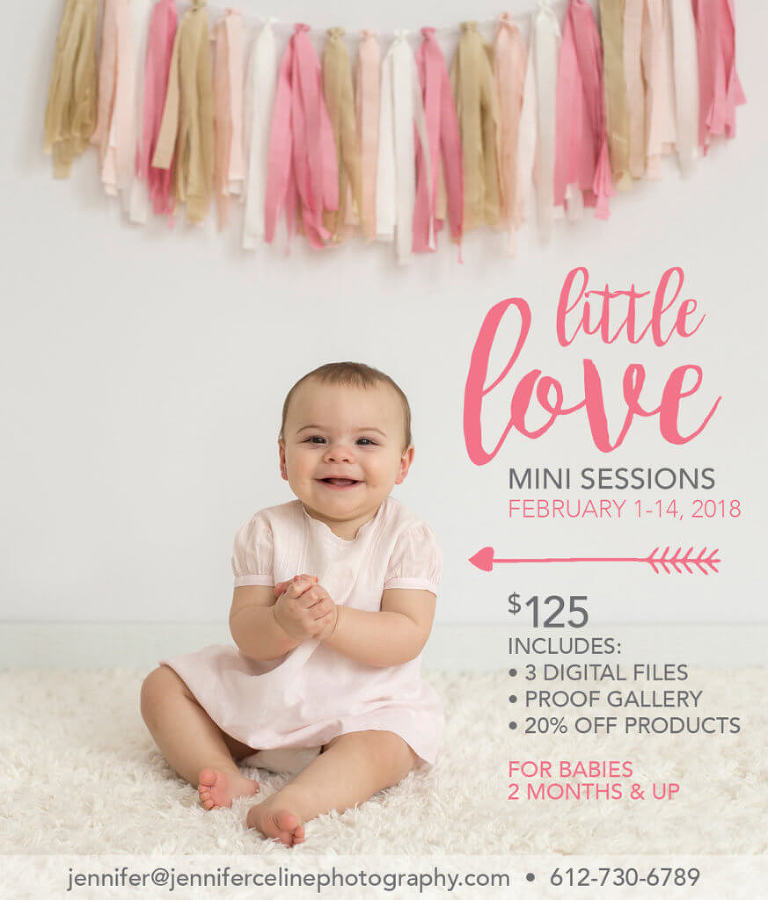 10 month old smiling, happy baby girl in vintage light pink dress with pink fabric garland, little love valentine mini session