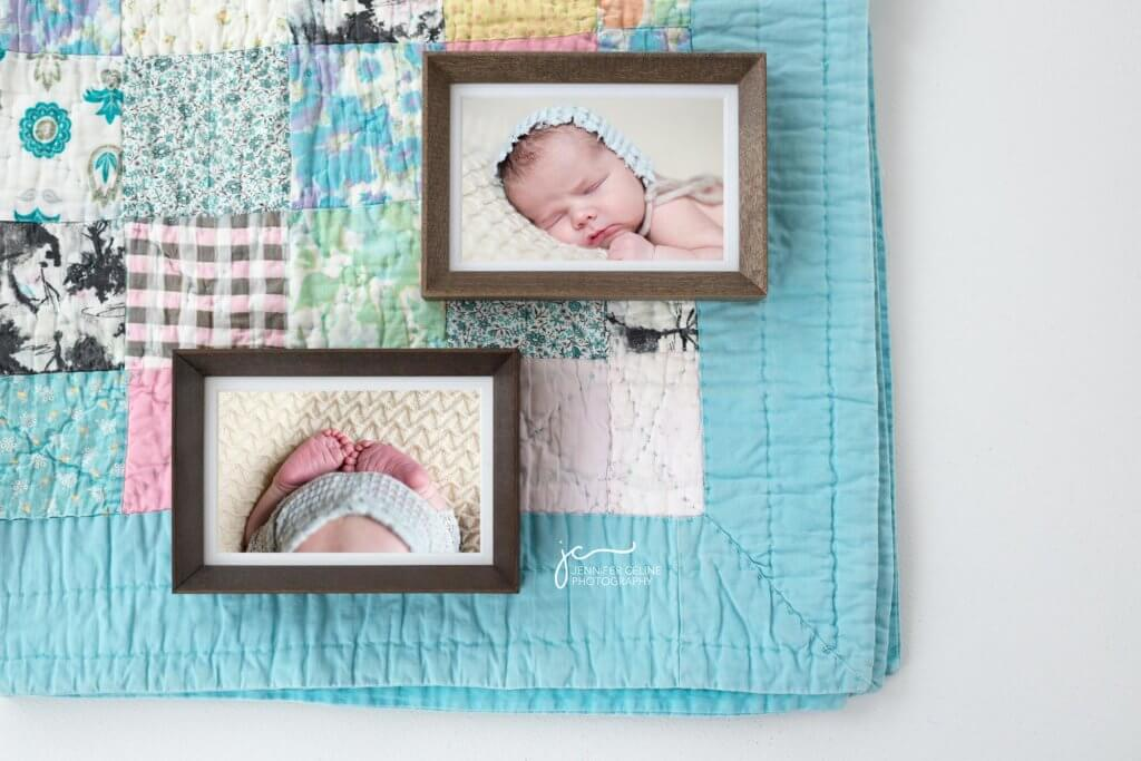 wood framed photographic prints of modern newborn baby on vintage baby quilt