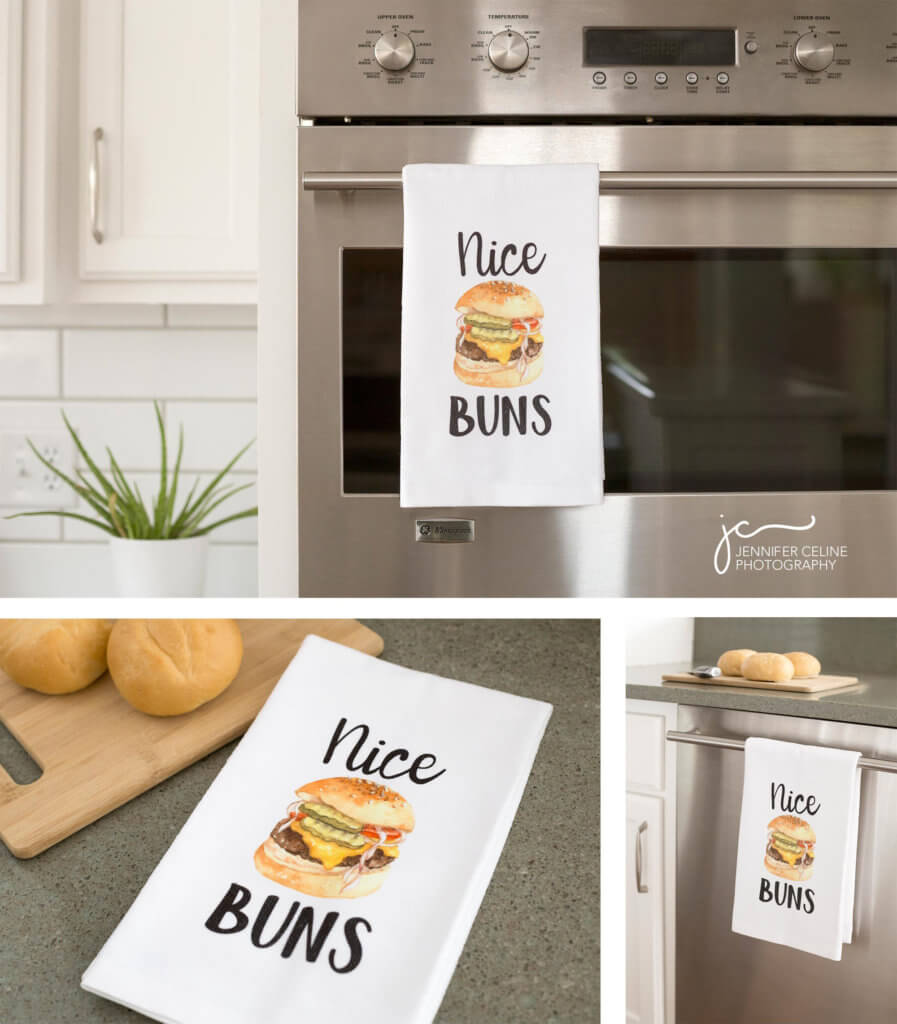 """Images of kitchen towels in a modern kitchen with a fun graphic that says """"nice buns"""" printed on them."""