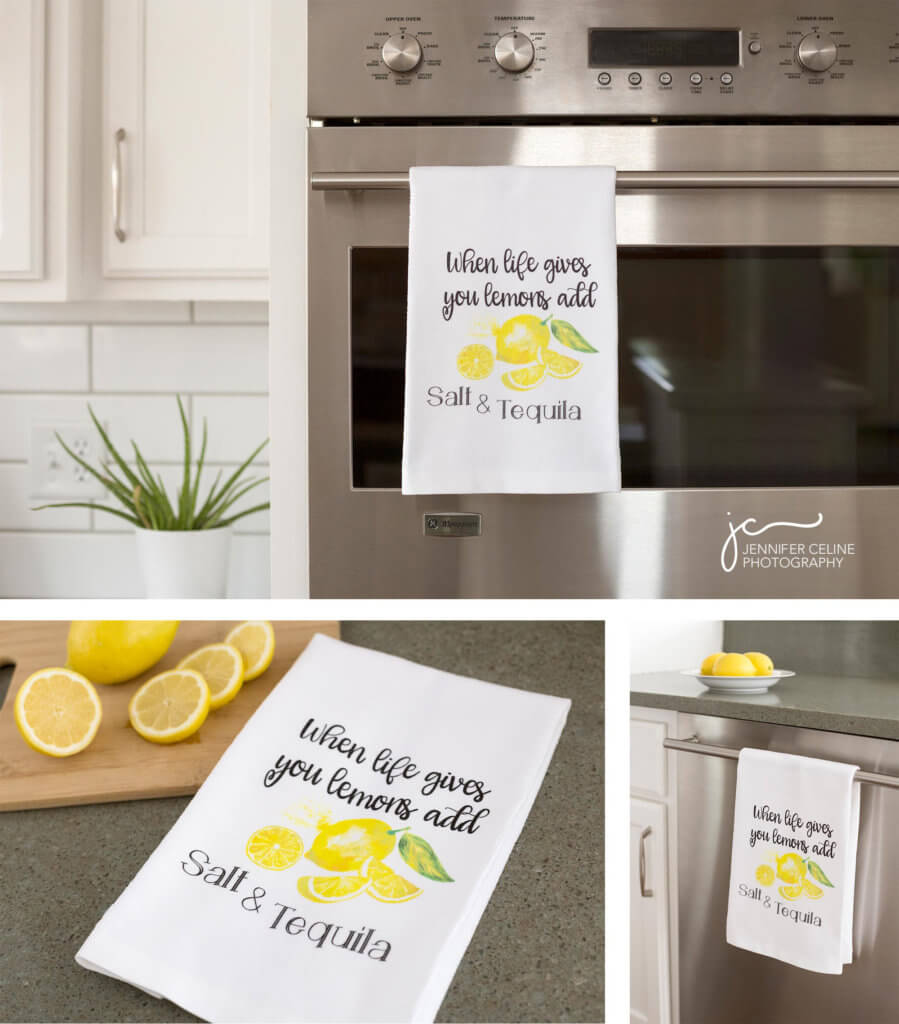 """Images of kitchen towels in a modern kitchen with a fun graphic that says """"when life gives you lemons, add salt and tequila"""" printed on them."""