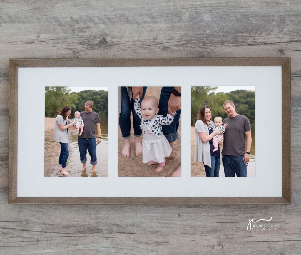 Framed photographs of a family of three standing barefoot on a sandy beach beside lake
