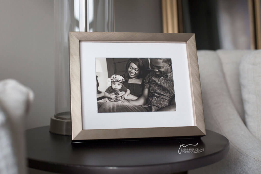 Photos displayed as art. Framed fine art black and white print in a champagne Hollywood wood frame.